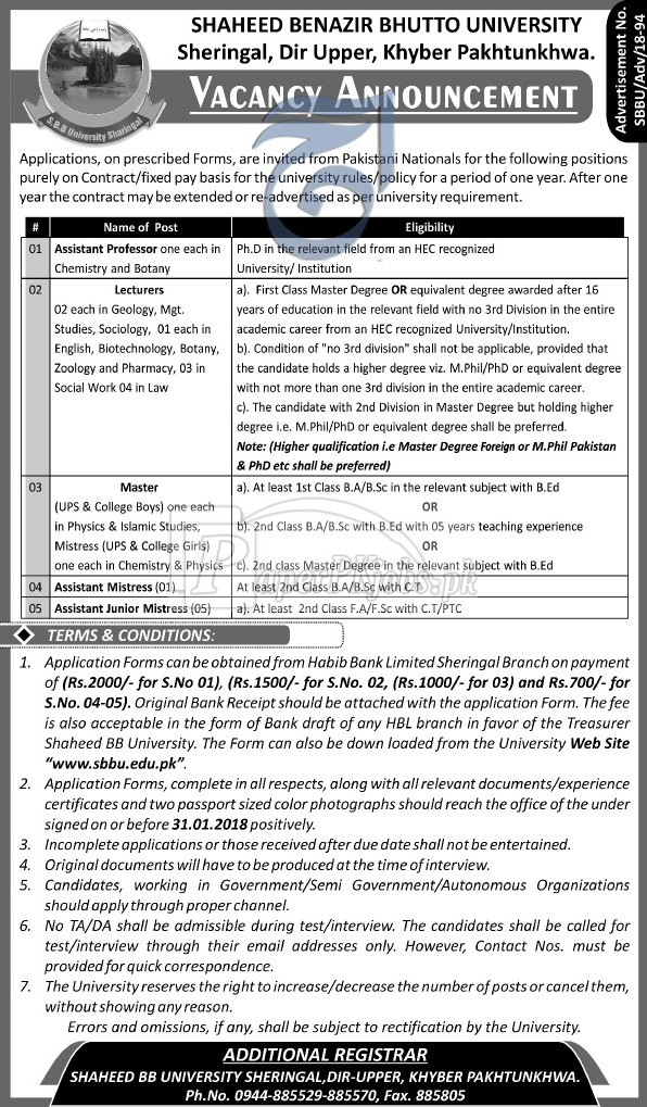 Shaheed Benazir Bhutto University SBBU Dir Upper KPK Jobs 2018