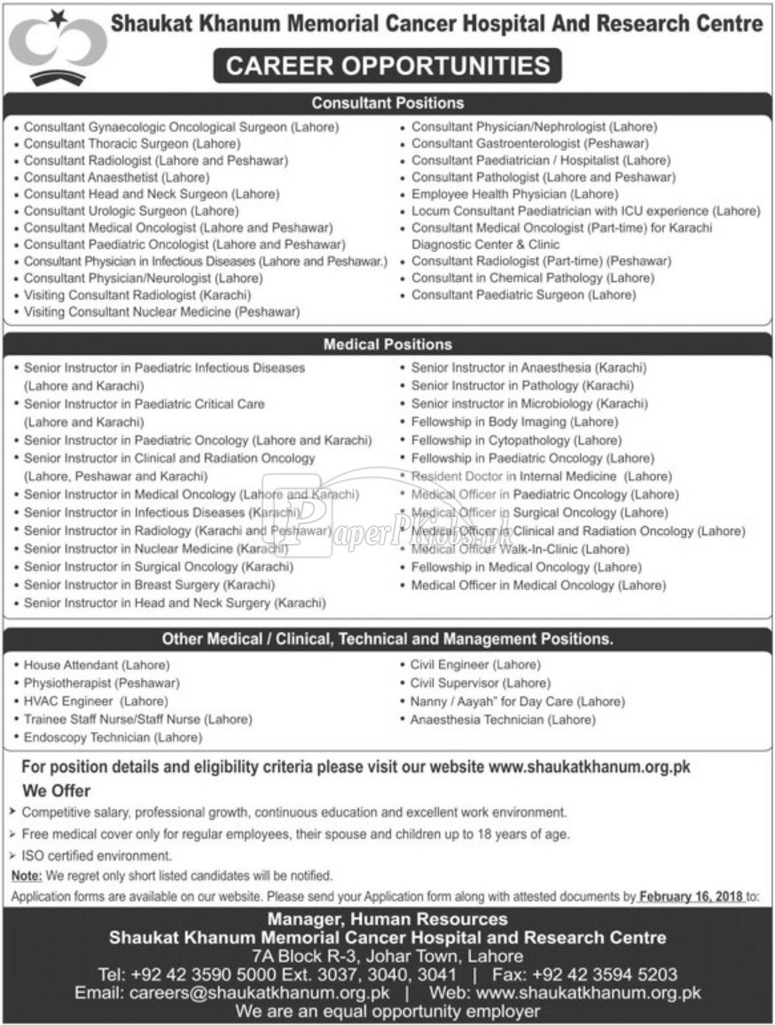 Shaukat Khanum Memorial Cancer Hospital SKMCH Jobs 2018