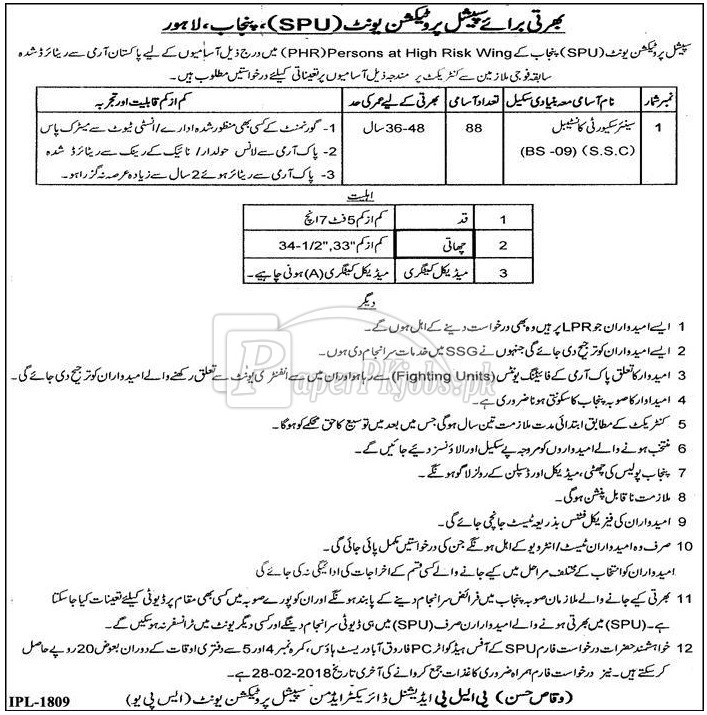 Special Protection Unit SPU Punjab Lahore Jobs 2018
