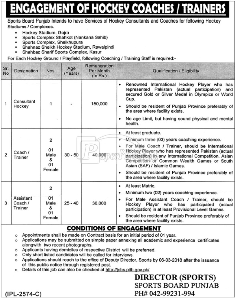 Sports Board Punjab Jobs 2018