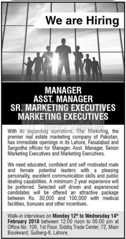 Star Marketing Pvt. Ltd. Jobs 2018