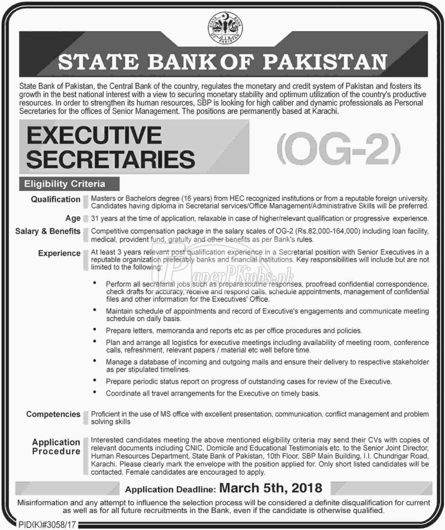 State Bank of Pakistan SBP Jobs 2018