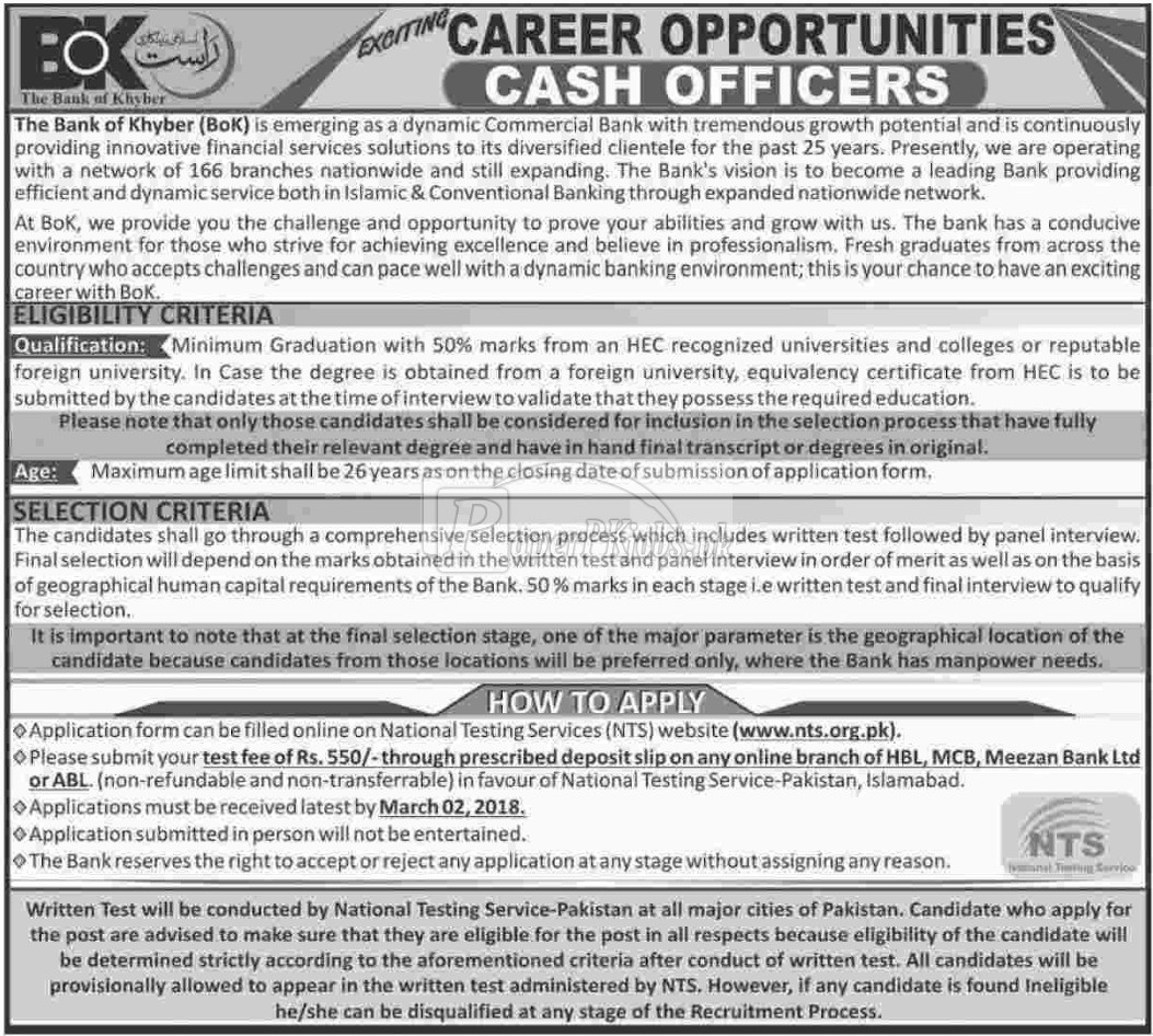 The Bank of Khyber NTS Jobs 2018