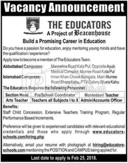 The Educators Jobs 2018