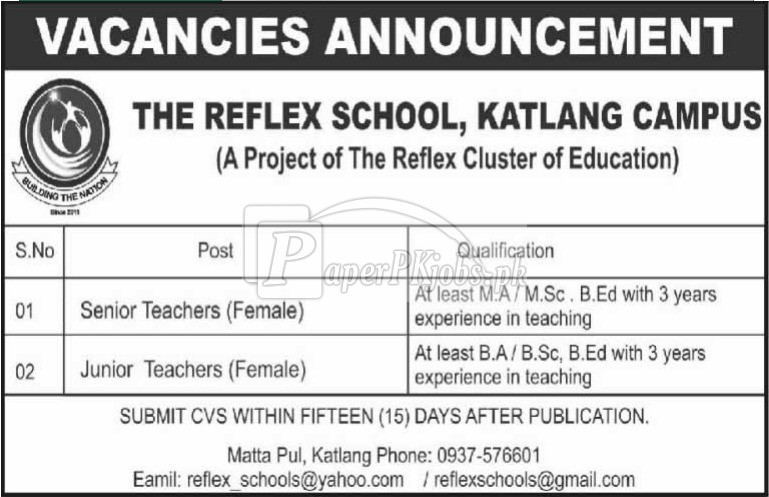 The Reflex School Katlang KPK Jobs 2018