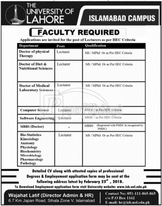 The University of Lahore Jobs 2018(1)