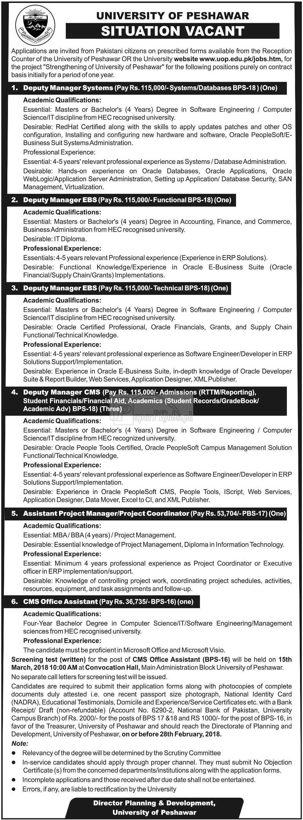 University of Peshawar Jobs 2018