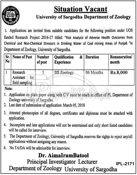University of Sargodha Jobs 2018