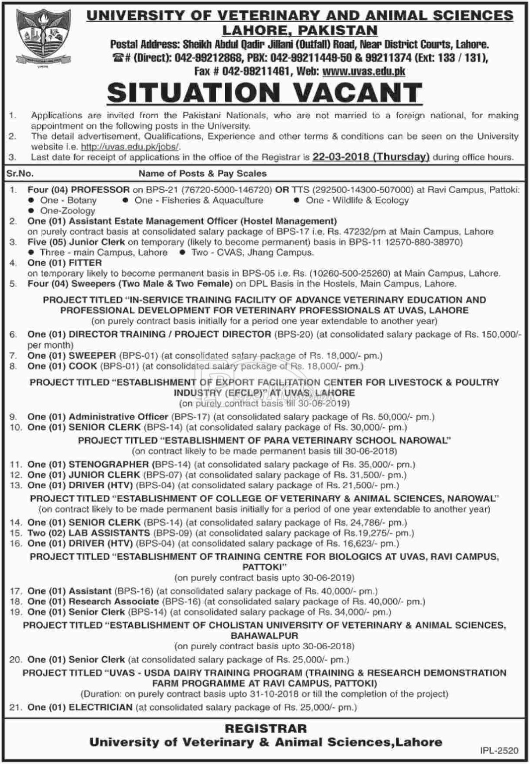 University of Veterinary & Animal Sciences UVAS Lahore Jobs 2018