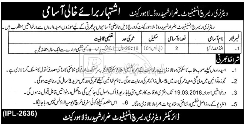 Veterinary Research Institute Lahore Cantt Jobs 2018