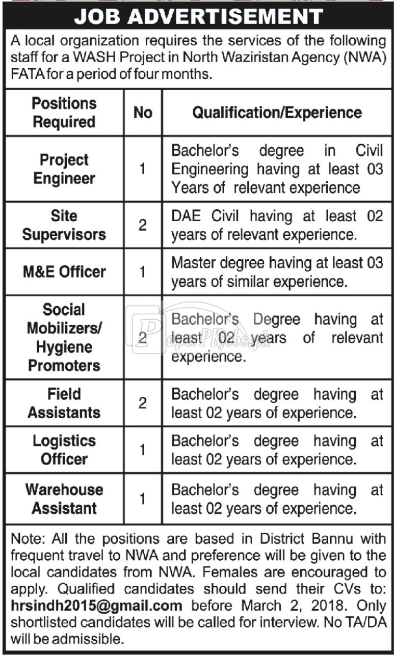WASH Project FATA Jobs 2018