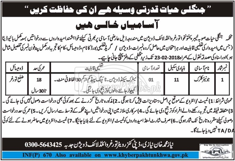 Wildlife Department KPK Jobs 2018