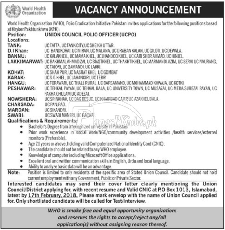 World Health Organization WHO P.O.Box 1013 Islamabad Jobs 2018