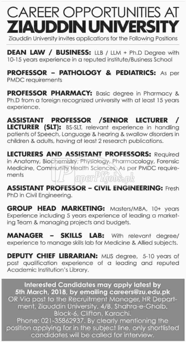 Ziauddin University Jobs 2018