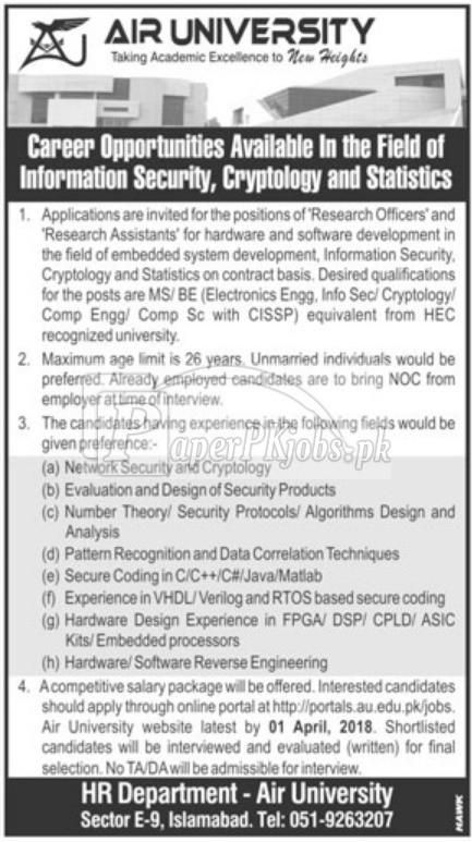 Air University Islamabad Jobs 2018