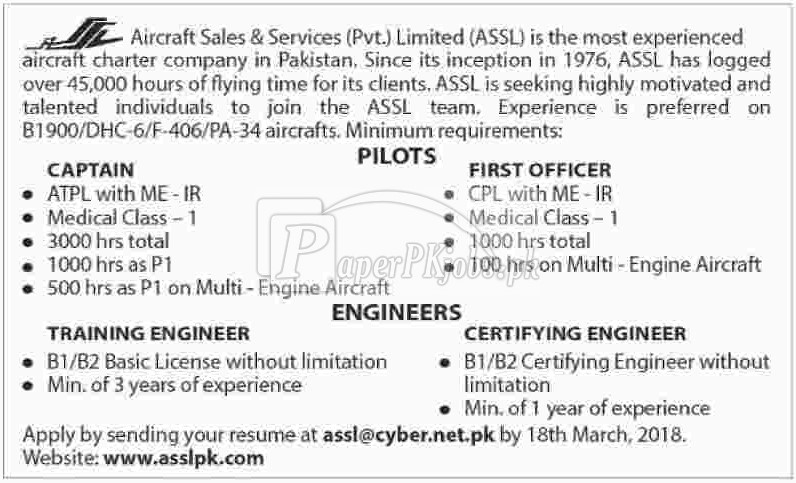 Aircraft Sales & Services Pvt. Ltd. ASSL Jobs 2018