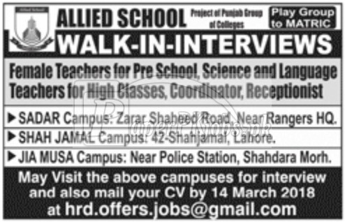 Allied School Lahore Jobs 2018