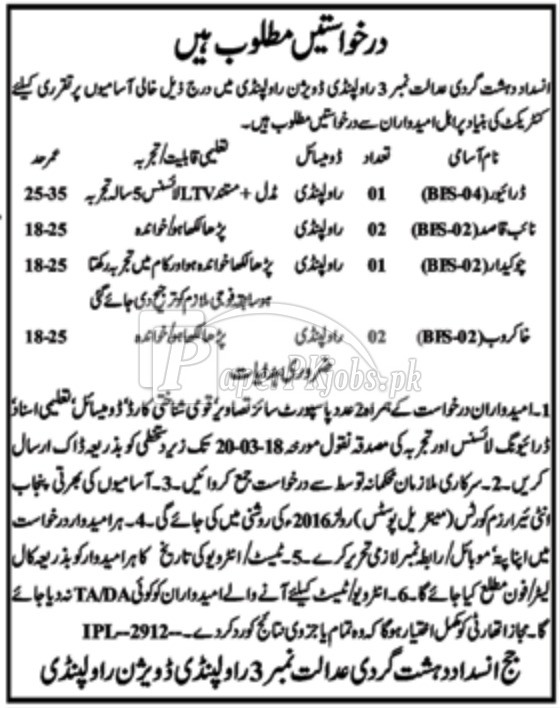 Anti Terrorism Court Rawalpindi Jobs 2018