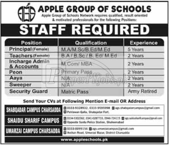 Apple Group of Schools KPK Jobs 2018
