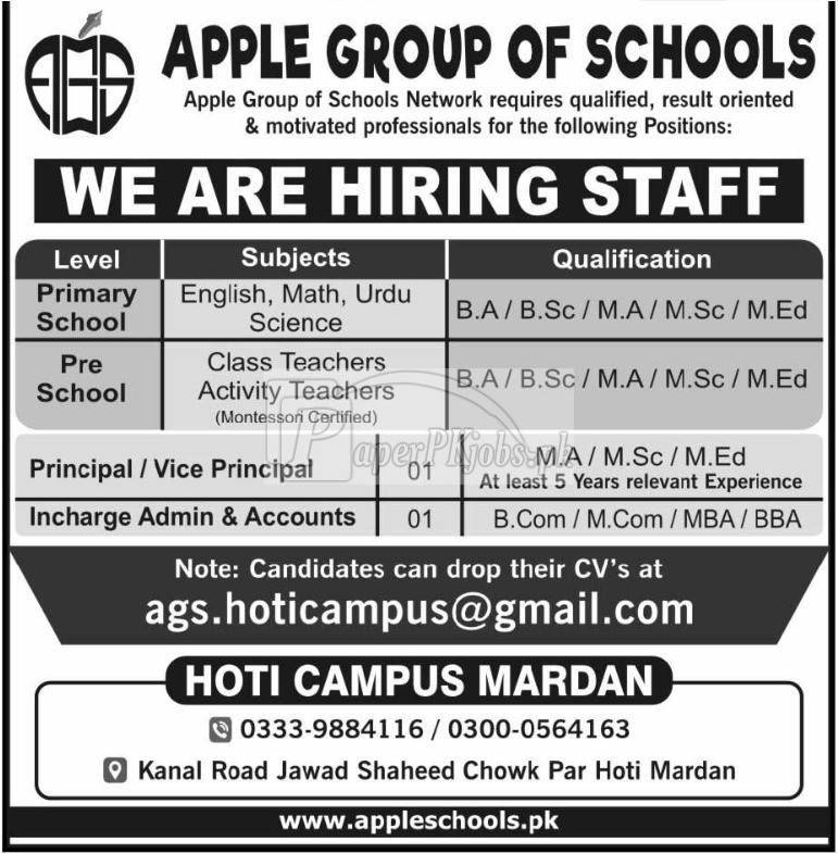 Apple Group of Schools Mardan Jobs 2018