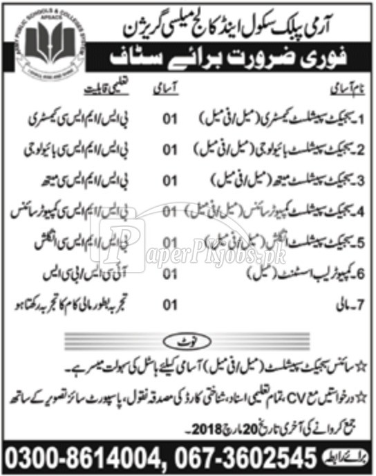 Army Public School & College Mailsi Garrison Jobs 2018