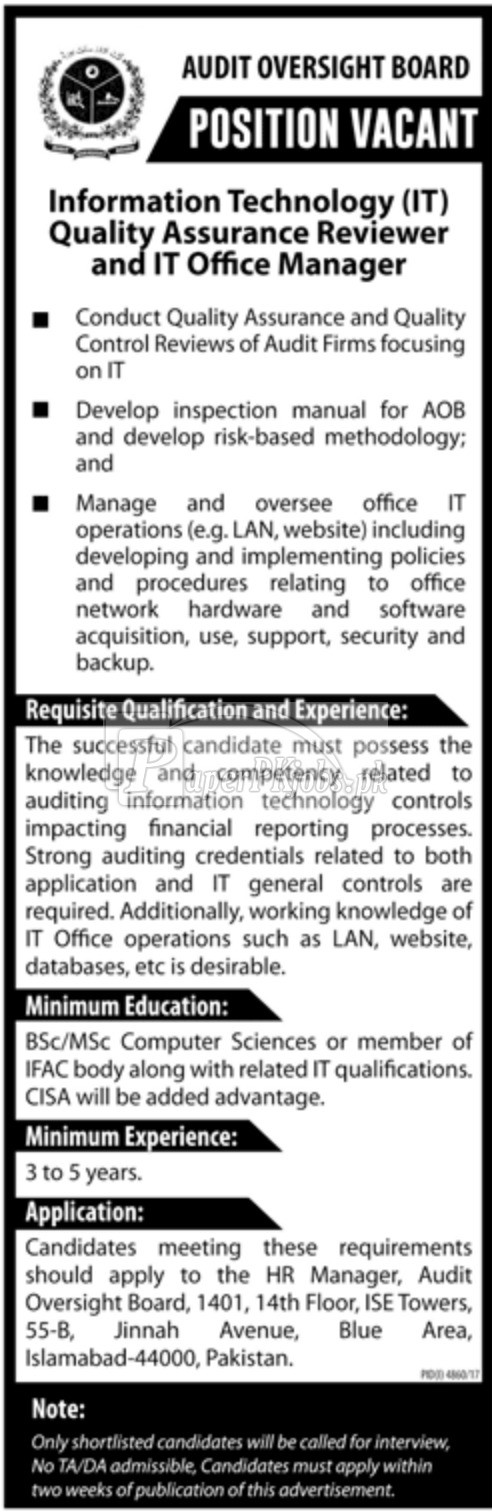 Audit Oversight Board Jobs 2018