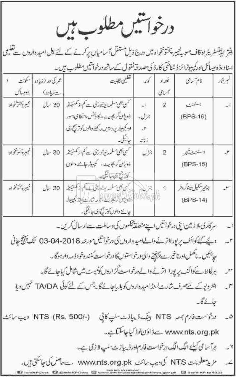 Auqaf Department KPK Jobs 2018