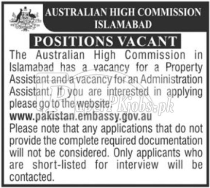 Australian High Commission Islamabad Jobs 2018