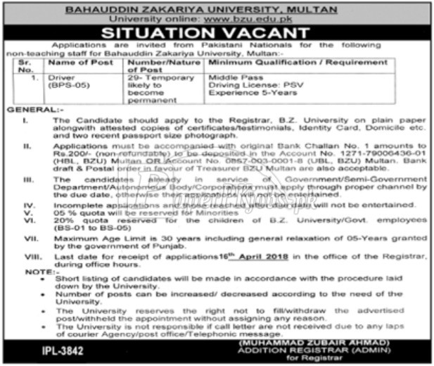 Bahauddin Zakariya University BZU Multan Jobs 2018