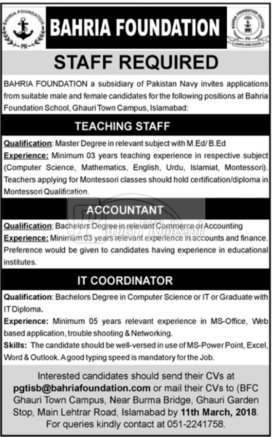 Bahria Foundation Jobs 2018