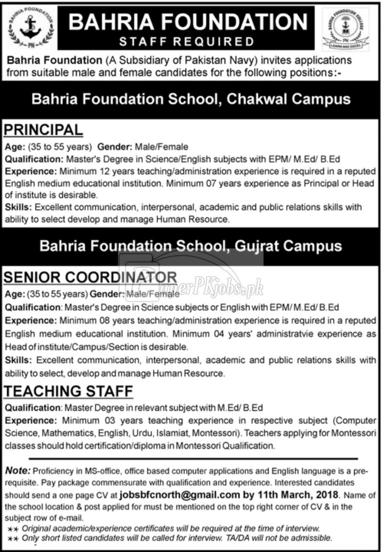 Bahria Foundation Jobs 2018(1)