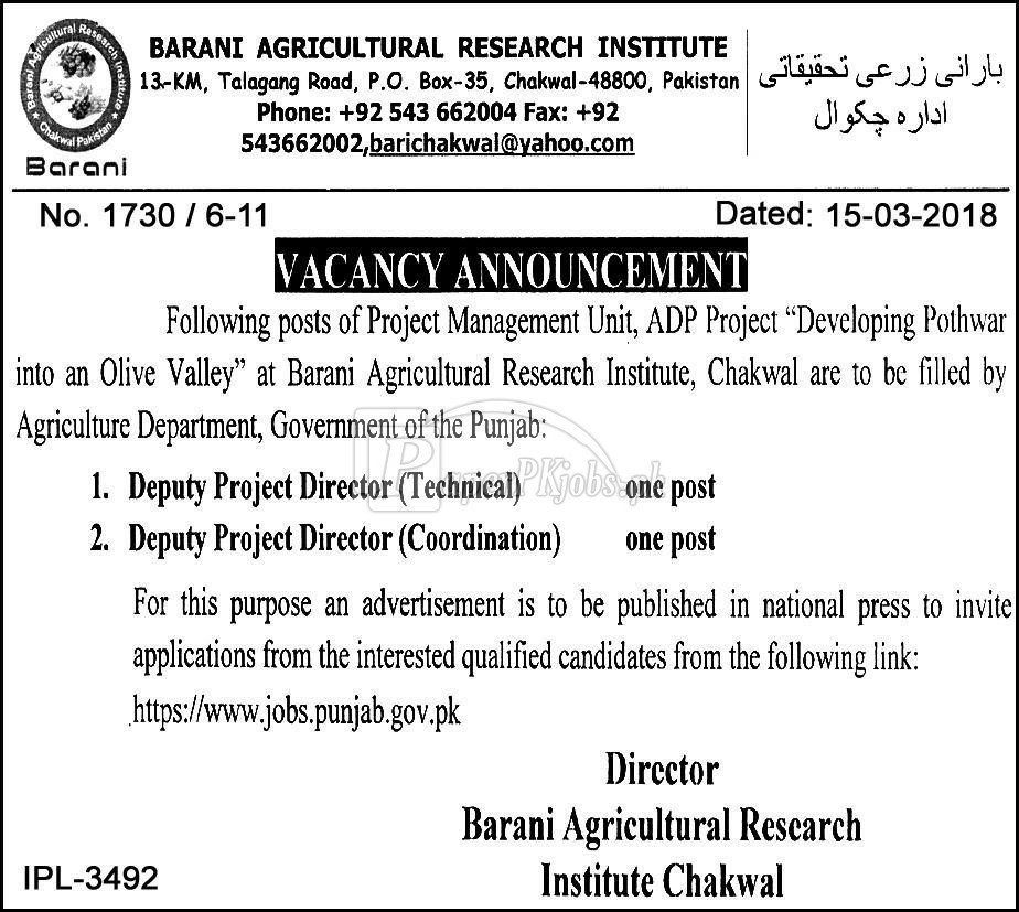 Barani Agricultural Research Institute Jobs 2018