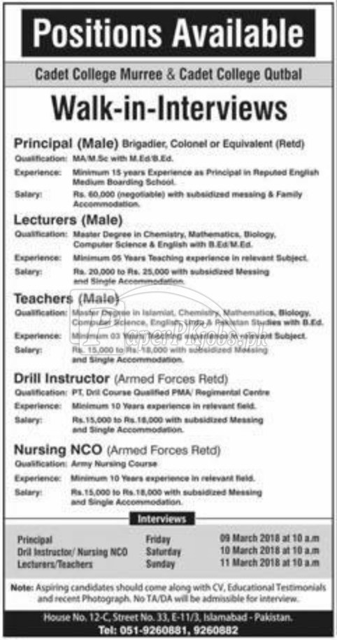 Cadet College Murree & Cadet Colleg Qutbal Jobs 2018