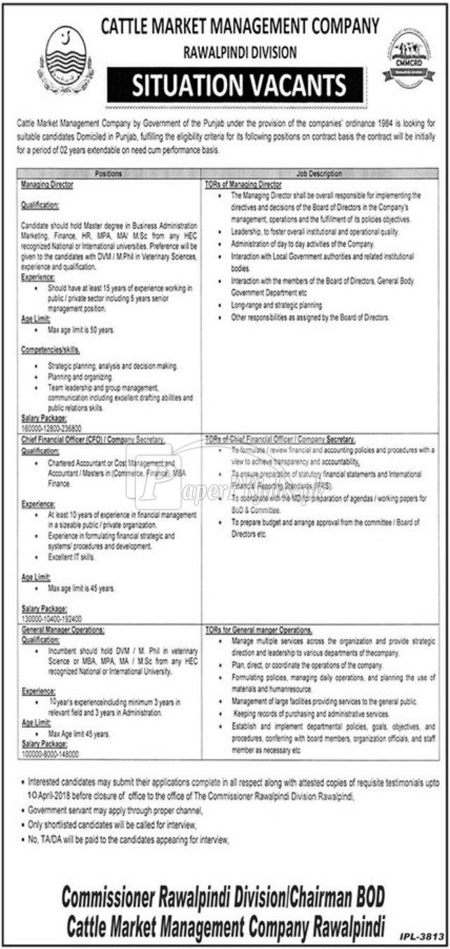 Cattle Market Management Company Rawalpindi Division Jobs 2018
