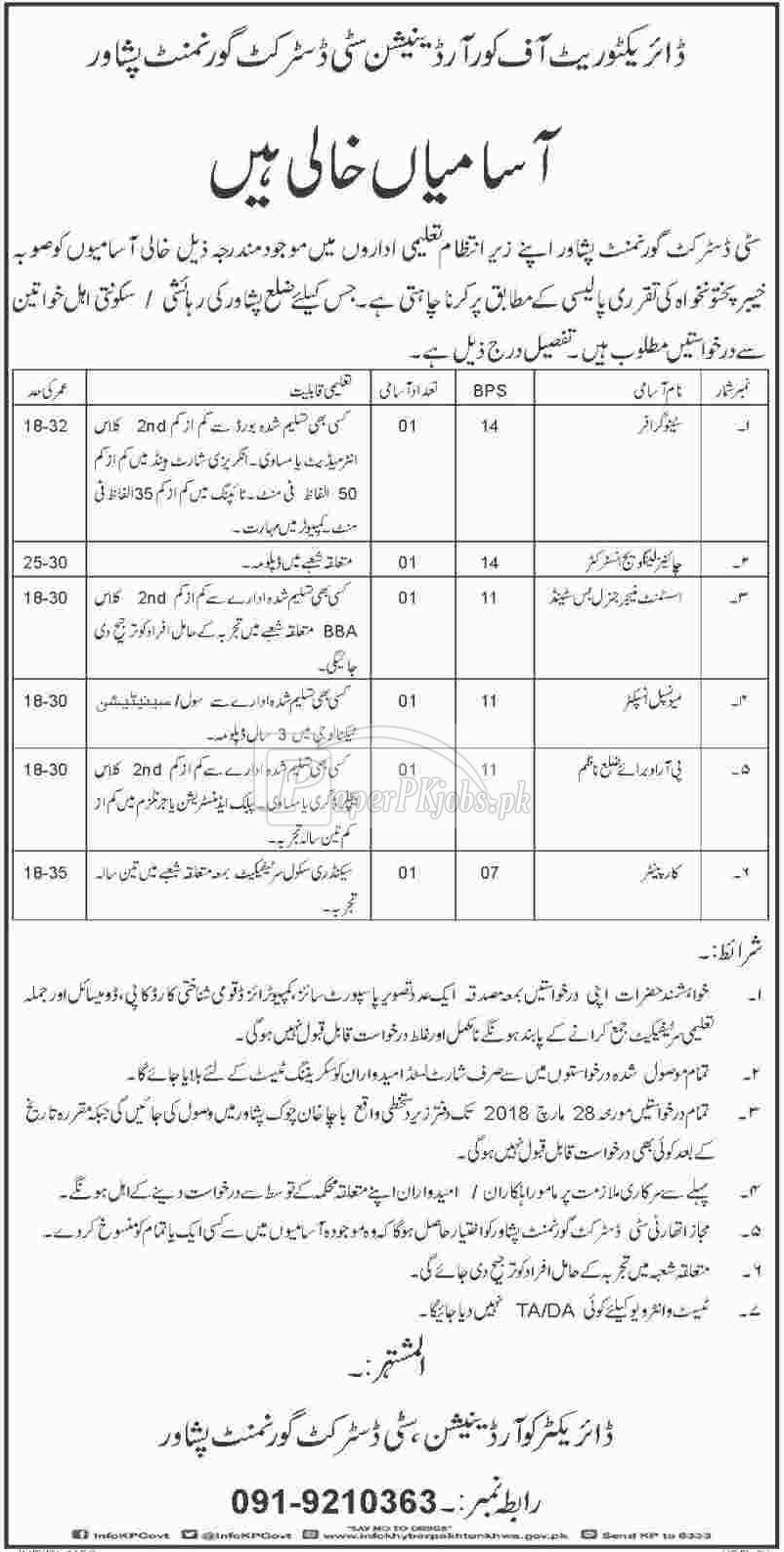 City District Government Peshawar Jobs 2018