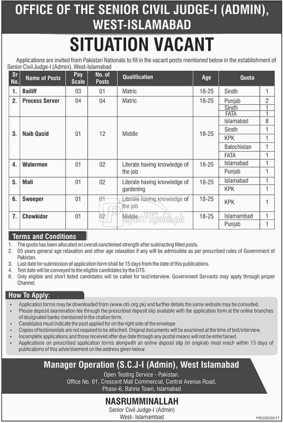Civil Court Islamabad Jobs 2018