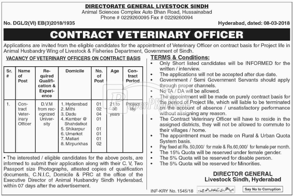 Directorate General Livestock Sindh Hyderabad Jobs 2018