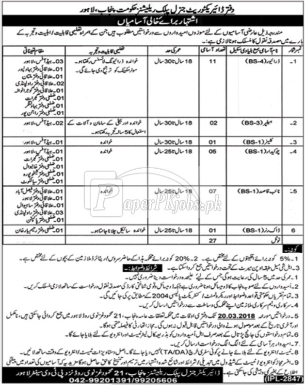 Directorate General Public Relations Punjab Lahore Jobs 2018