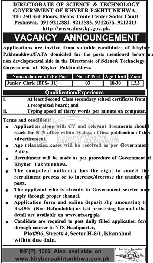 Directorate of Science & Technology Peshawar Jobs 2018