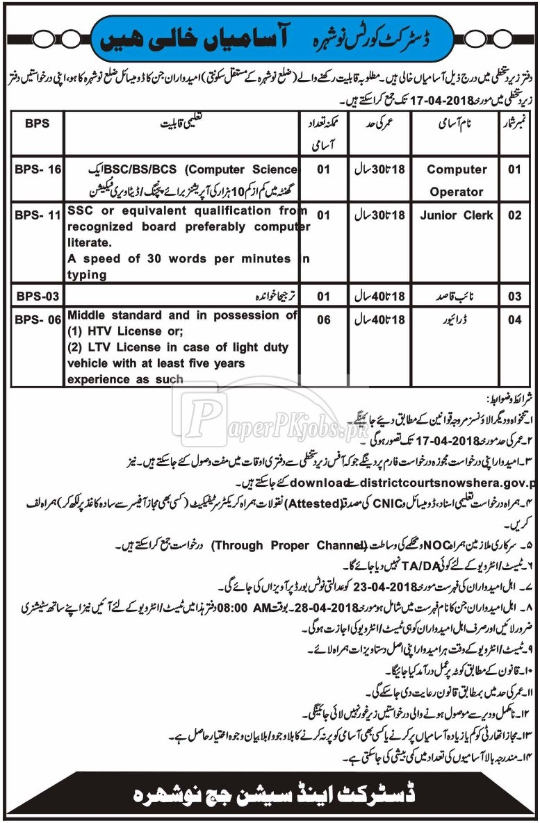 District Courts Nowshera Jobs 2018(1)