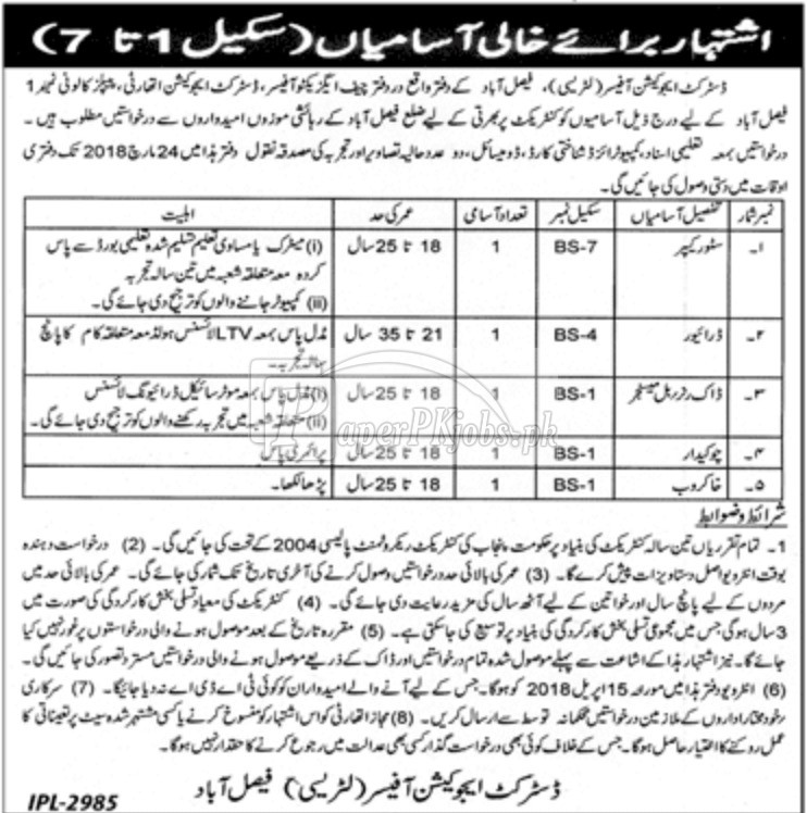 District Education Authority Literacy Faisalabad Jobs 2018