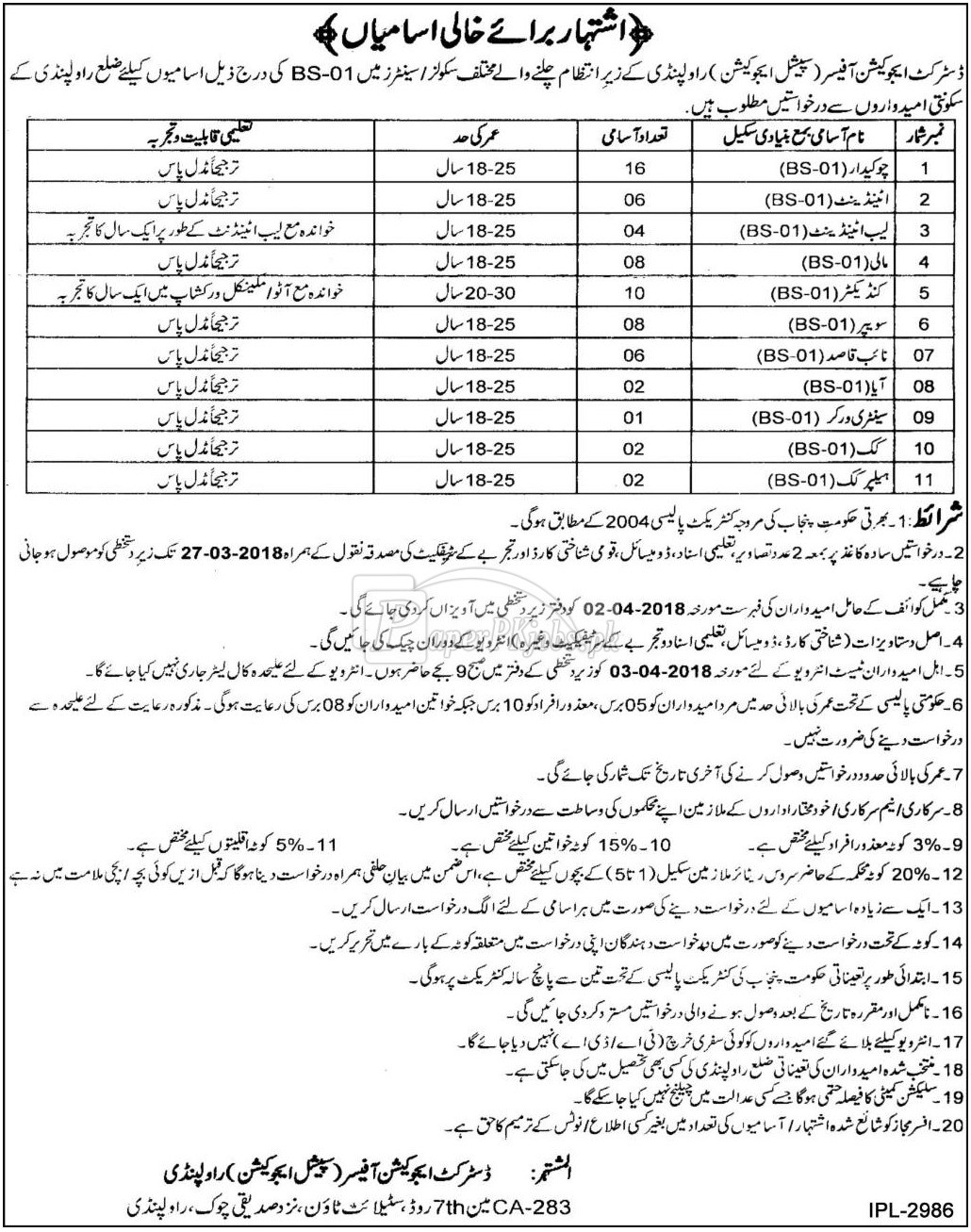 District Education Authority Special Education Rawalpindi Jobs 2018