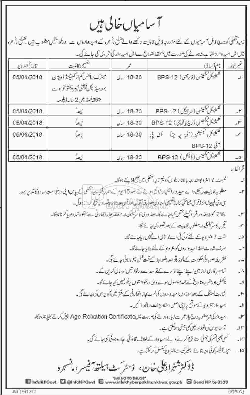 District Health Authority Mansehra Jobs 2018