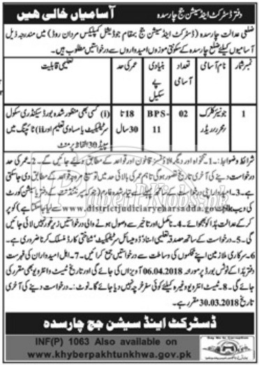 District & Session Court Charsadda Jobs 2018