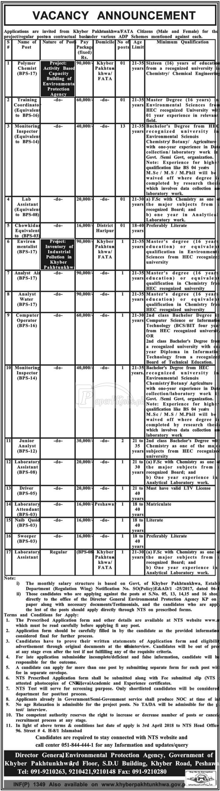 Environmental Protection Agency Peshawar KPK Jobs 2018
