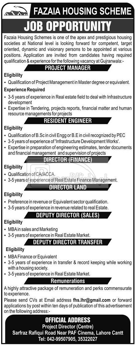 Fazaia Housing Scheme Jobs 2018