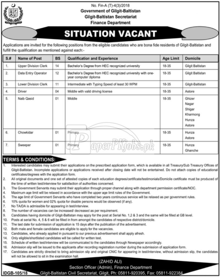 Finance Department Gilgit Baltistan Jobs 2018