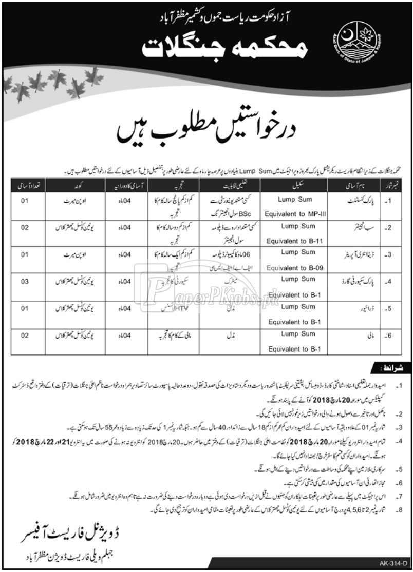Forest Department Muzaffarabad AJK Jobs 2018