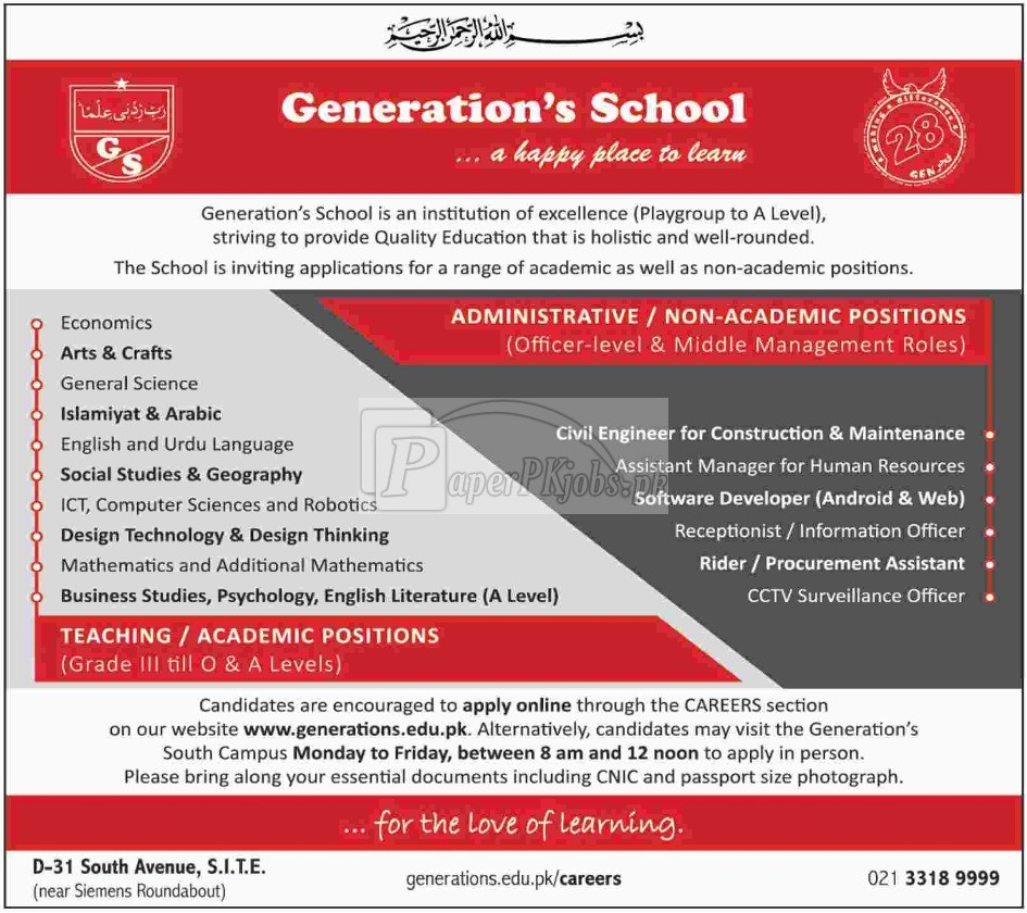 Generation School Jobs 2018