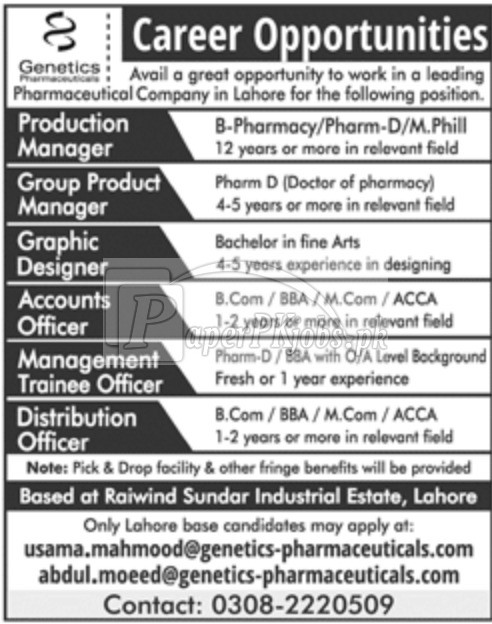 Genetics Pharmaceuticals Jobs 2018